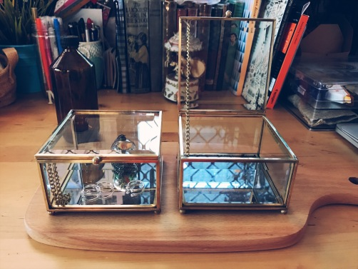 Brass square glass case / jewellery box - small (S$33)