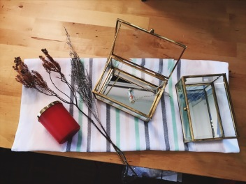 Brass rectangular glass case (S$35)