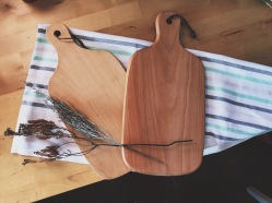 Wooden chopping board with leather string (S$20)