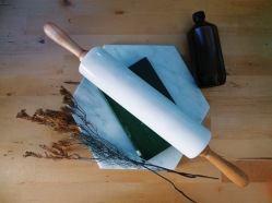 Marble rolling pin in white. (S$50)