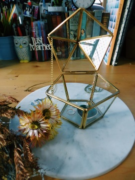 Brass hexagonal glass case (S$35)