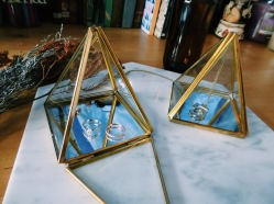 Brass pyramid glass case (S$33)